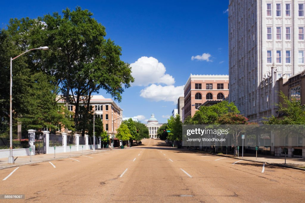 Empty street to Mississippi State Capitol, Jackson, Mississippi, United States