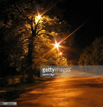 Avenida por la noche : Foto de stock
