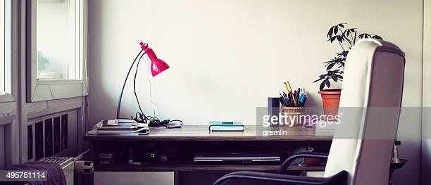 Empty student dorm desk