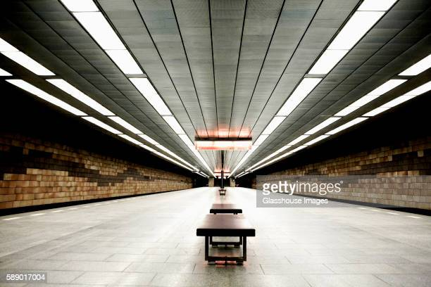 Empty Subway Platform, Prague, Czech Republic