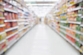 Empty Supermarket aisle shelves abstract blur defocused business background