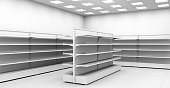 Empty supermarket shelf in the interior store. 3d image.