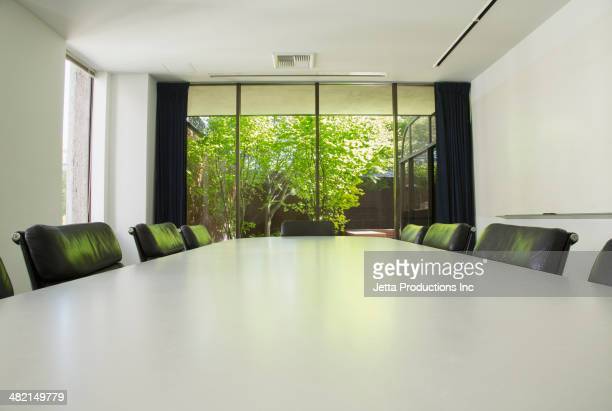 Empty table in meeting room
