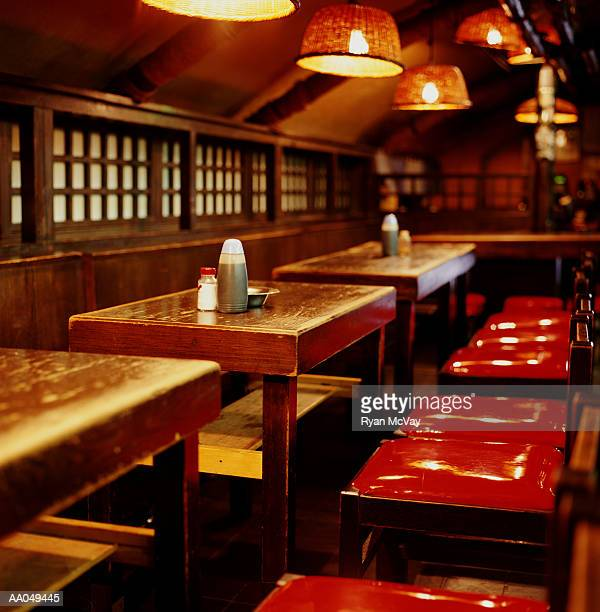 Empty tables and chairs in Japanese restaurant