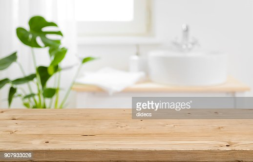 Empty tabletop for product display with blurred bathroom interior background : Stock Photo