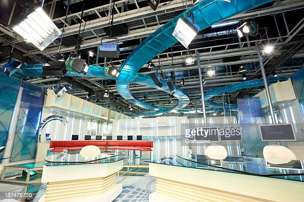 Empty television studio with LCD screens
