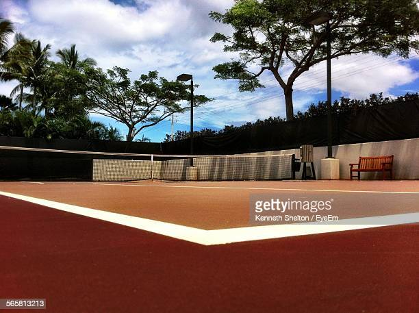 Empty Tennis Court Against Sky