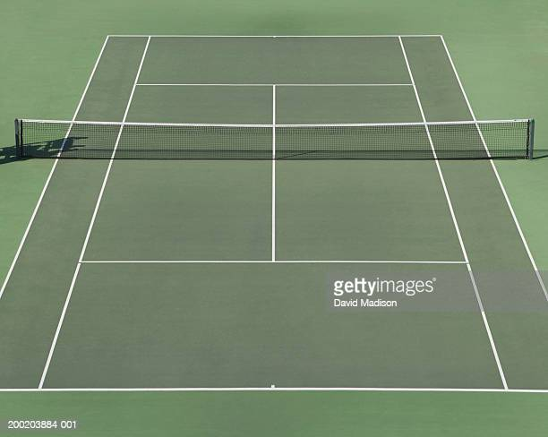 Empty tennis court, elevated view