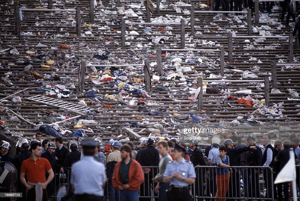 Empty terraces previously occupied by Juventus fans after the riot at the Heysel Stadium in Brussels Belgium before the start of the 1985 European...