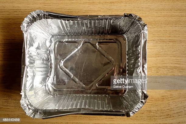 Empty tin foil food container