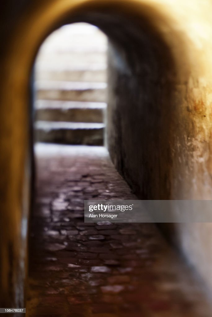 Empty tunnel and steps : Stock Photo