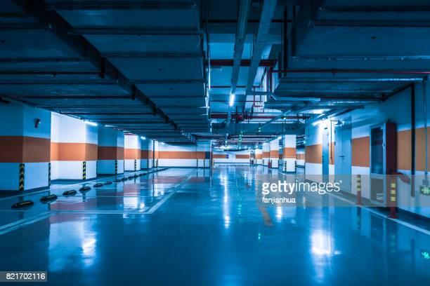 Empty Underground Parking Lot in blue tone