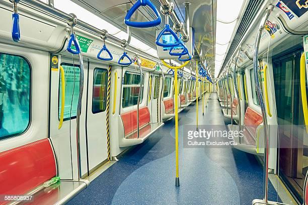 Empty underground train carriage, Hong Kong, China