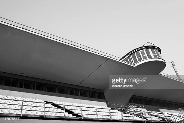 Empty Velodrome Bleachers. Black and White