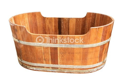 db193c1ed411c Empty Vintage Wooden Bathtub Isolated On White Background Stock ...