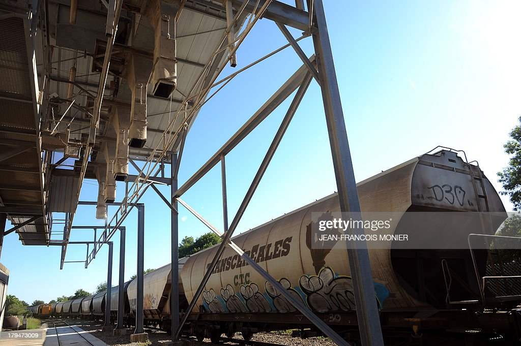 Empty wagons are loaded with wheat by Agrial, an agricultural cooperative on september 4, 2013 in Coulombiers, Western France. Some 1200 tonnes of wheat are loaded into 21 wagons and transported directly to the cooperative rather than by road to ease congestion. AFP PHOTO / JEAN FRANCOIS MONIER