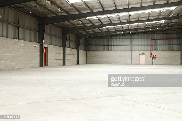 Empty warehouse with lights, concrete floors
