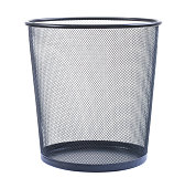 empty wastebasket on white background