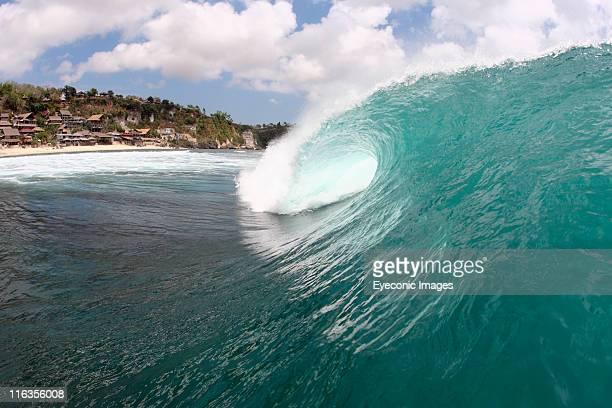 Empty wave breaking in Bali, Indonesia