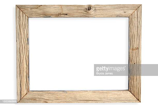 Empty weathered wooden picture frame