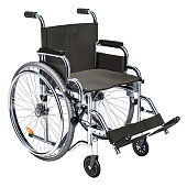 Empty wheelchair, 3D rendering isolated on white background