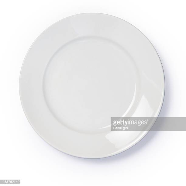 Empty white dinner plate on white background