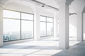 Empty white loft interior with big windows, 3d render