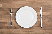 Empty white plate with knife and fork, Overhead shot on wooden table