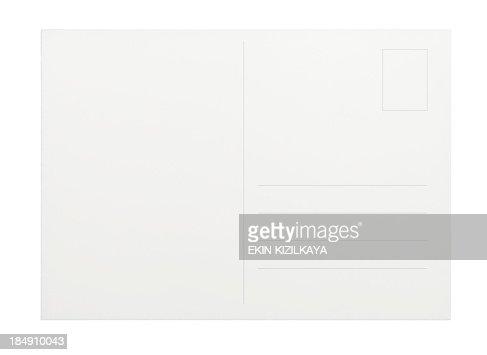 Empty white postcard on a white background