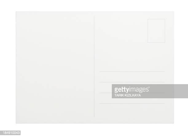 Empty white postcard on a white background