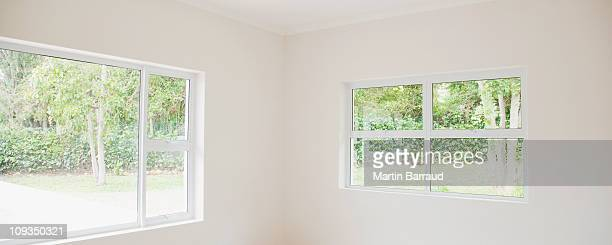 Empty white room in house