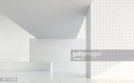 Image de salle blanche vide moderne espace intérieur 3d rendu : Photo
