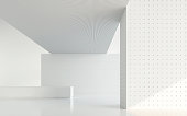 Empty white room modern space interior 3d rendering image.A blank wall with pure white. Decorate with geometry object