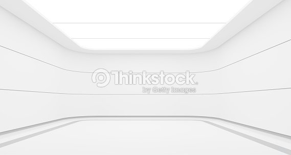 Empty white room modern space interior 3d rendering image : Stock Photo