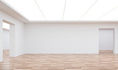 Empty white room modern space interior 3d rendering image.White room Many rooms are connected.There are wood floor,white wall
