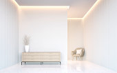 Empty white room modern space interior 3d rendering image.A blank wall with pure white. Decorate wall with virtical line pattern and hidden warm light