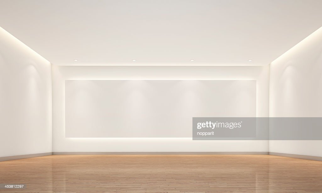 Empty white room with lighting