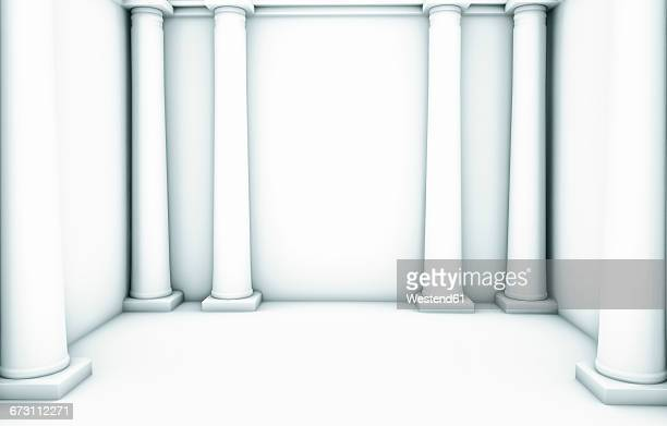 Empty white room with six columns,