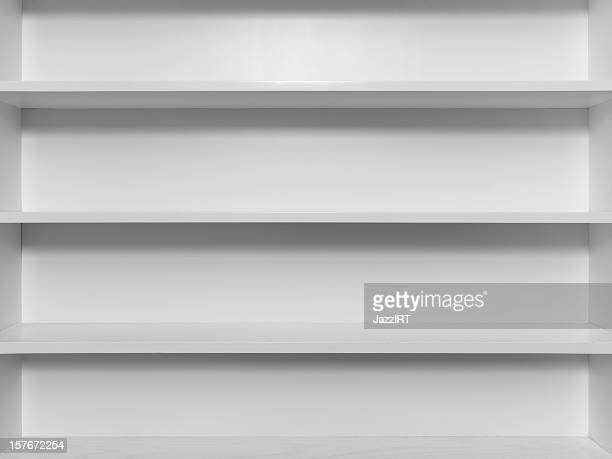 Empty white wooden bookshelf