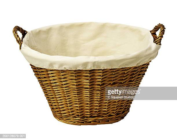 Empty wicker laundry basket