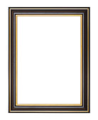 empty wide black and gold wooden picture frame with cut out canvas isolated on white background