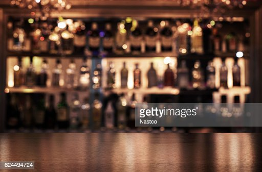 Empty wooden bar counter : Stock Photo