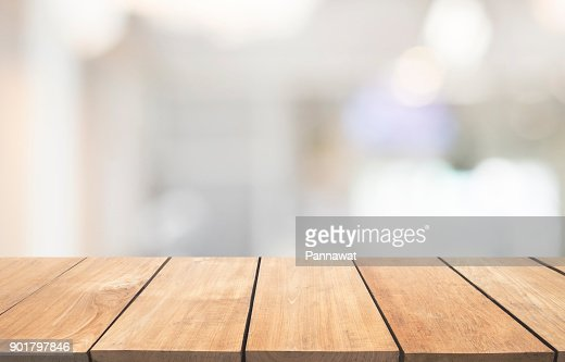 Empty wooden table and interior background, product display, blurred light interior background with bokeh : Stock Photo