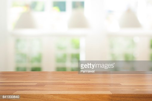 Empty wooden table and modern  background with green ourdoor view : Stock Photo