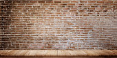 Mock up panorama shot : Empty wooden table with grunge brick wall. For product display montage.