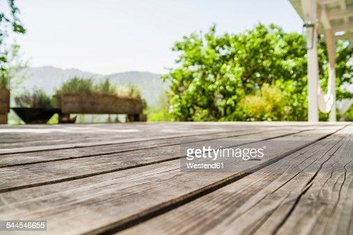 Empty wooden terrace