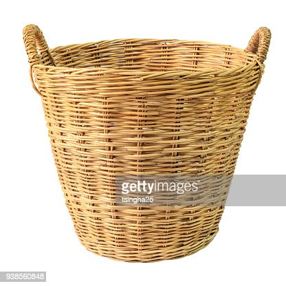 Empty wooden wicker basket isolated on white background. : Stock Photo
