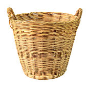 Empty wooden wicker basket isolated on white background.