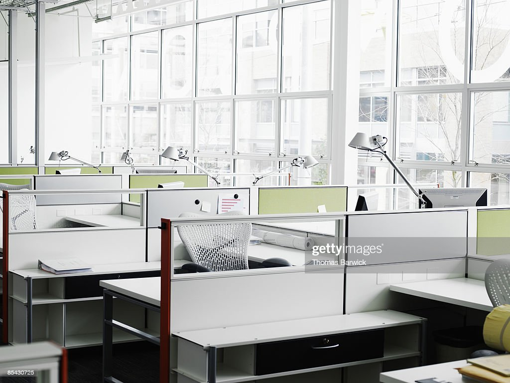 Empty workstations in office