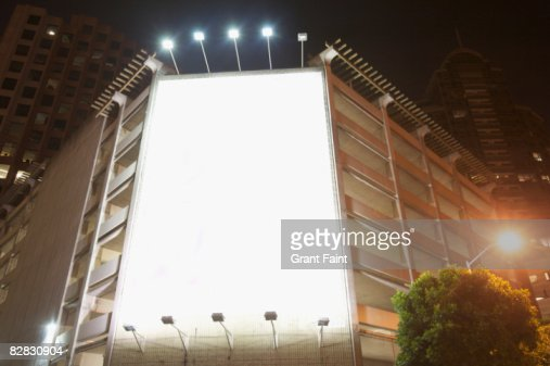 empty/blank advertising space lighted : Stockfoto
